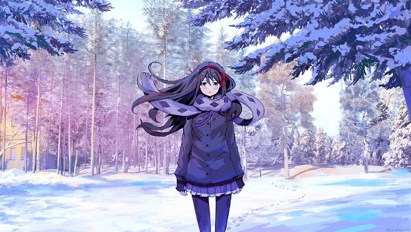 Tags: Anime, ArseniXC, Mahou Shoujo Madoka☆Magica, Akemi Homura, Pine Tree, Fanart From Pixiv, Pixiv, Fanart, Facebook Cover