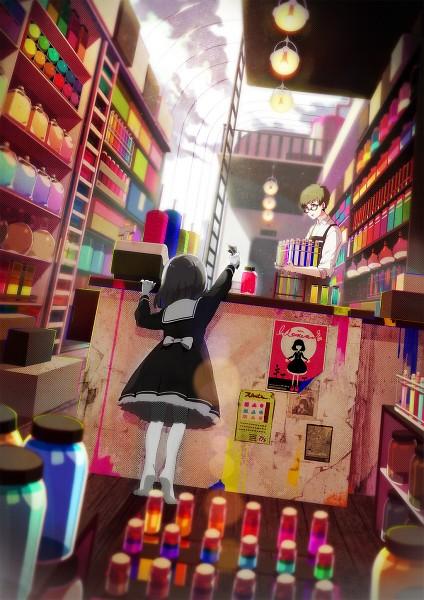 Tags: Anime, Akiakane, Standing On Tip Toes, Ladder, Depth Of Field, Test Tube, Pixiv, Mobile Wallpaper, Original