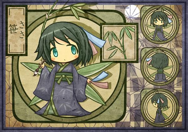 Tags: Anime, Akihiyo, Brush, Plant (Personification), Asa no Ha (Pattern), Tanabata, Plant Wings, PNG Conversion, Pixiv, Original