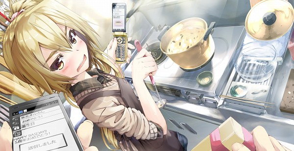Tags: Anime, Demitasu, VOCALOID, Akita Neru, Cooking Pot, Soup, Pixiv, Facebook Cover, Wallpaper, Official Derivatives