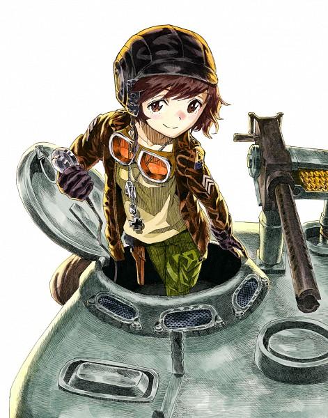 Tags: Anime, Misakyura, GIRLS und PANZER, Akiyama Yukari, Machine Gun, Goggles Around Neck, Fanart, Fanart From Pixiv, Pixiv, Yukari Akiyama