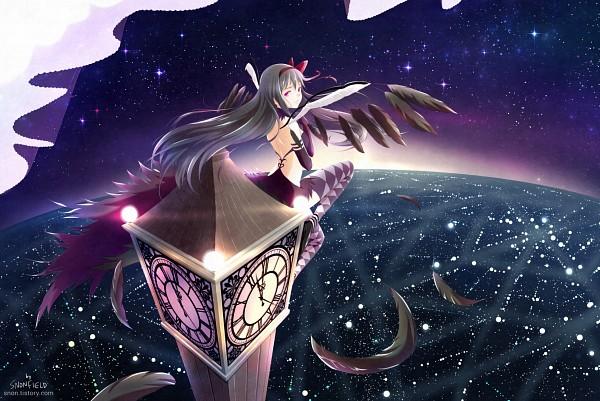 Tags: Anime, snonfield, Mahou Shoujo Madoka☆Magica, Akuma Homura, Akemi Homura, Purple Handwear, Clock Tower, Purple Gloves, Tower, Pixiv, Fanart From Pixiv, Fanart