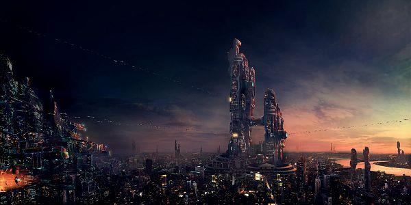 Tags: Anime, Alex Popescu (artist), Futuristic Theme, Tower, 1200x600 Wallpaper, Skyscraper, 2:1 Ratio, deviantART, Original, Fanart From DeviantART, Wallpaper, Facebook Cover, Fanart
