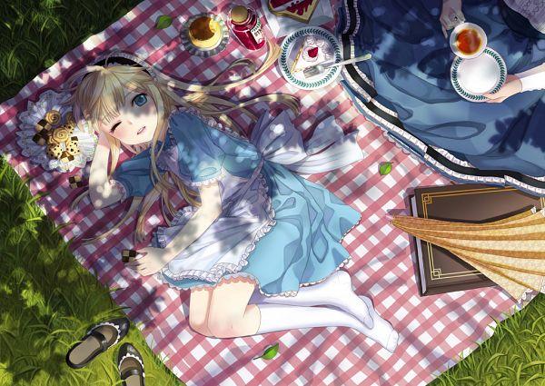 Tags: Anime, briska, Alice in Wonderland, Alice (Alice in Wonderland), Toast, Footwear Off, Closed Umbrella, Pudding, Jam, Picnic, Pixiv, Original
