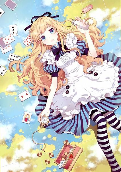 Tags: Anime, Nardack, Alice in Wonderland, Alice (Alice in Wonderland), Slender, Pocket Watch, Treasure Chest, Striped Skirt, Text: Eat Me, Globe, Pixiv, Mobile Wallpaper