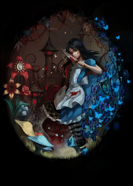 Tags: Anime, Pixiv Id 2045544, American McGee's Alice, American McGee's Alice: Madness Returns, Alice (American McGee's), Blood On Weapons, PNG Conversion, Pixiv, Fanart, Mobile Wallpaper, Fanart From Pixiv
