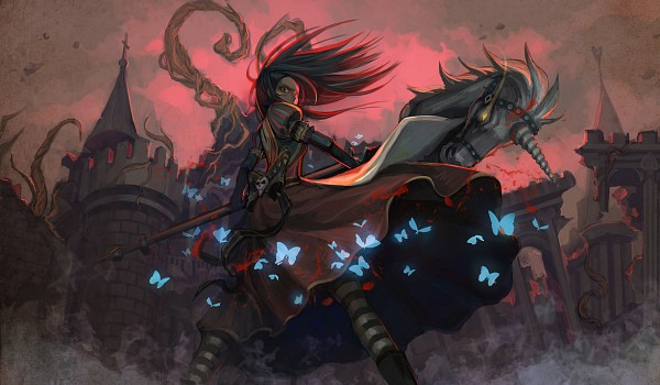 Tags: Anime, Pixiv Id 1134488, American McGee's Alice, American McGee's Alice: Madness Returns, Alice (American McGee's), Hobby Horse, Red Sky, Fanart From Pixiv, Pixiv, Fanart