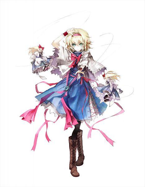 Tags: Anime, Banpai Akira, ZUN, Frontier Aja, Touhou, Koumajou Densetsu, Alice Margatroid, Shanghai, Crossed Legs (Standing), Official Art