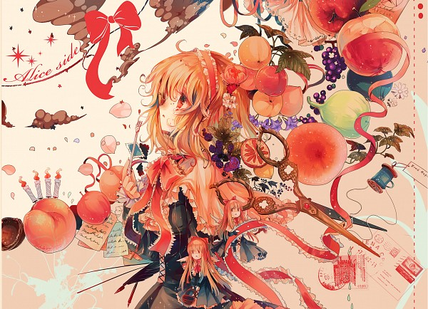 Tags: Anime, Kirero, Touhou, Alice Margatroid, Shanghai, Violet (Flower), Post Card (Object), Peach (Fruit), Blackberry, Surreal, Nut (Food), Peeling, Sewing