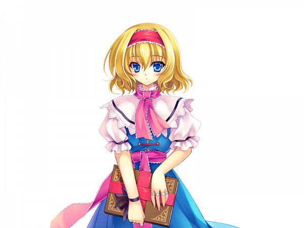 Tags: Anime, Riv, Touhou Pocket Wars, Touhou, Alice Margatroid, Spellbook, Cover Image, PNG Conversion, Official Art