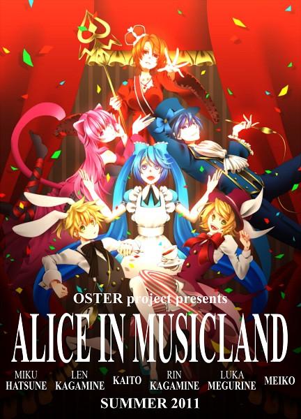 Tags: Anime, Ai (Grape 23 Fruit), VOCALOID, Megurine Luka, Hatsune Miku, KAITO, Kagamine Len, Kagamine Rin, MEIKO (VOCALOID), Alice (Alice in Wonderland) (Cosplay), Cheshire Cat (Cosplay), Mad Hatter (Cosplay), Alice in Musicland