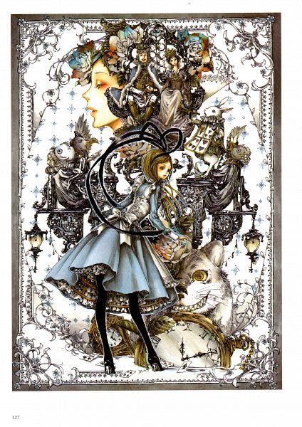 Tags: Anime, Tukiji Nao, Alice in Wonderland, Nao Tsukiji Illustrations - NOSTALGIA, Alice (Alice in Wonderland), Cheshire Cat, White Rabbit, Dodo (Bird), King, Mobile Wallpaper, Scan