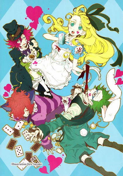 Tags: Anime, Suzuki Jirou, Alice in Wonderland, Alice (Alice in Wonderland), Mad Hatter, Cheshire Cat, White Rabbit, Alice In Wonderland Anthology, Mobile Wallpaper