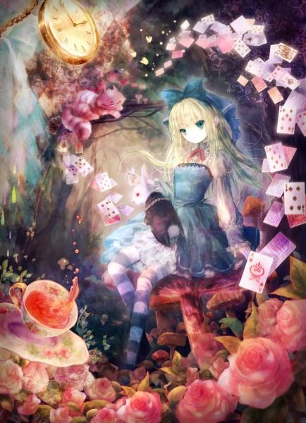Tags: Anime, Onineko, Alice in Wonderland, Cheshire Cat, White Rabbit, Alice (Alice in Wonderland), Mobile Wallpaper, Pixiv