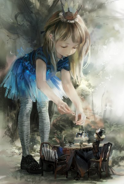Tags: Anime, Pixiv Id 3651861, Alice in Wonderland, Mad Hatter, March Hare, Alice (Alice in Wonderland), Tea Party, Playing, Ballerina Outfit, Stripped T-shirt, Ballet, Playing With Toys, Giant