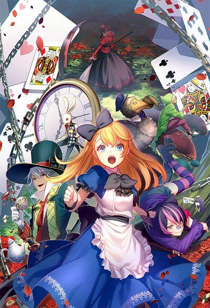 Tags: Anime, Enomaru Saku, Alice in Wonderland, Alice (Alice in Wonderland), White Rabbit, Mad Hatter, Cheshire Cat, Caterpillar (Alice in Wonderland), Queen of Hearts, Dodo (Bird), Pocket Watch, Pixiv, Fanart