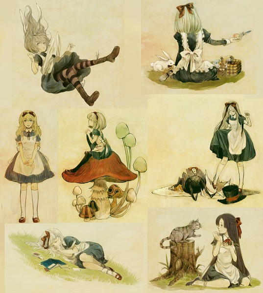 Tags: Anime, Yoki, Alice in Wonderland, Humpty Dumpty, Alice (Alice in Wonderland), White Rabbit, Cheshire Cat, Tree Stump