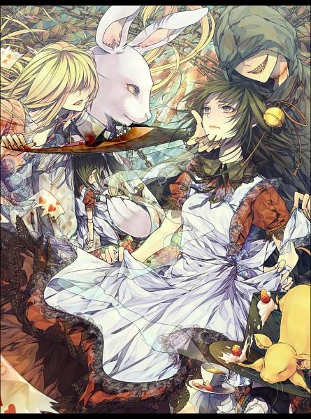 Tags: Anime, Notachibana, Alice in Wonderland, Alice in Distortion World, Mad Hatter, Cheshire Cat, Alice (Alice in Wonderland), White Rabbit, Fanart, Pixiv