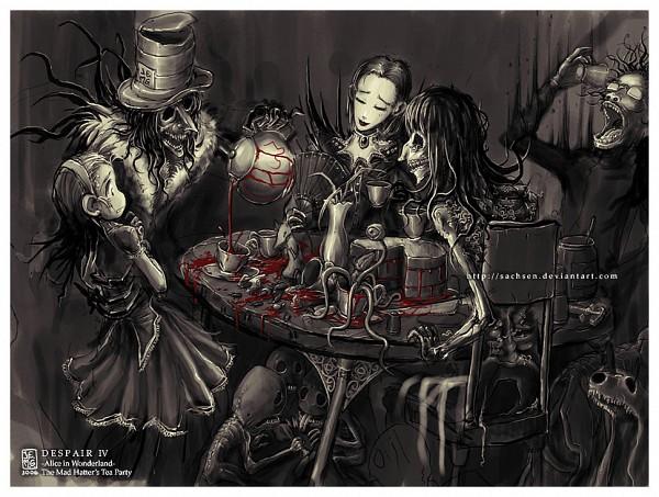 Tags: Anime, Sachsen, Alice in Wonderland, Queen of Hearts, Alice (Alice in Wonderland), Mad Hatter, March Hare, Tea Party, Honey, deviantART
