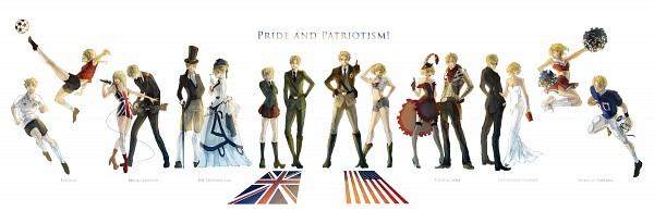 Tags: Anime, Hakuku, Axis Powers: Hetalia, United States, United Kingdom (Female), United States (Female), United Kingdom, Bomber Jacket, Punk, American Football, Gown, Cowboy, Western