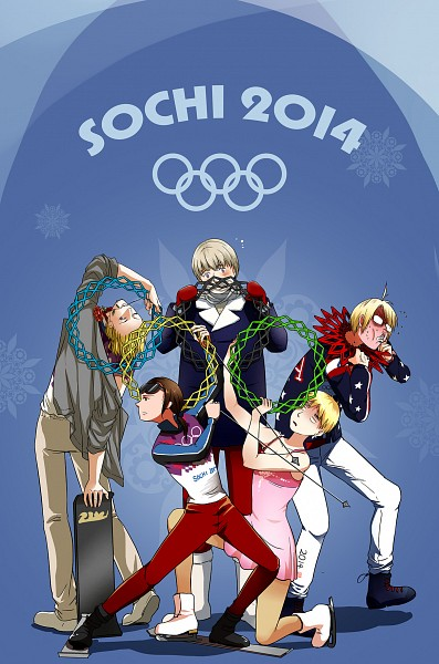 Tags: Anime, Pixiv Id 4054357, Axis Powers: Hetalia, United States, Russia, China, France, United Kingdom, Roller Skates, Ice Skating, Figure Skating, Snowboard, Skiing