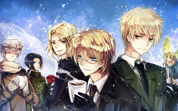 Tags: Anime, 10721 (artist), Axis Powers: Hetalia, France, United Kingdom, United States, Russia, China, Wallpaper, Fanart, Pixiv, Allied Forces