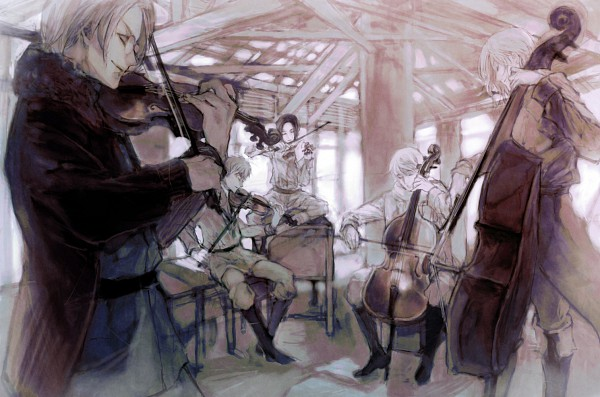 Tags: Anime, Pocket222, Axis Powers: Hetalia, United States, Russia, China, France, United Kingdom, Cello, Playing Violin, Bass Guitar, Contrabass, Allied Forces