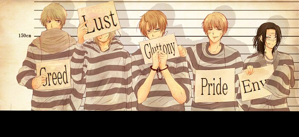 Tags: Anime, Pixiv Id 2316561, Axis Powers: Hetalia, United States, Russia, China, France, United Kingdom, Covering Face, Identity Parade, Prisoner, Prison Outfit, Deadly Sins