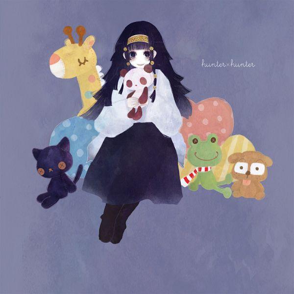 Tags: Anime, Sorako, Hunter x Hunter, Togashi Yoshihiro (Mascots), Alluka Zoldyck, Stuffed Dog, Stuffed Panda, Stuffed Giraffe, Stuffed Frog, Fanart, Pixiv