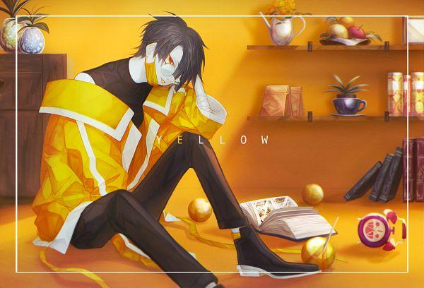 Tags: Anime, Alo (M-o-k-e-k-e), Vase, Yellow Lips, Medical Mask, Shelf, Pixiv, Original