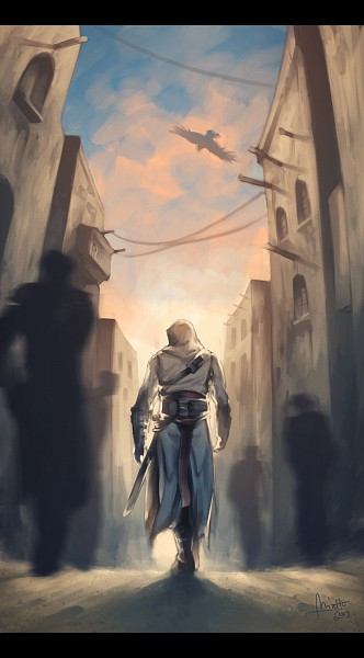Tags: Anime, Assassin's Creed, Altair Ibn La-Ahad, Eagle, Fanart, Mobile Wallpaper
