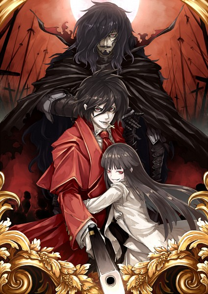 Tags: Anime, Fujinohara Akihira, HELLSING, Alucard (Hellsing) (Female), Alucard (Hellsing), Red Sky, Vladcard (hellsing), Mobile Wallpaper