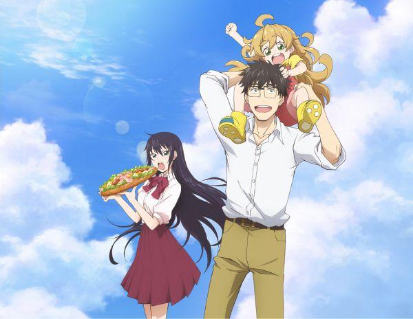 Tags: Anime, Harada Hiroki, Shin-Ei Animation, TMS Entertainment, Amaama to Inazuma, Inuzuka Kouhei, Iida Kotori, Inuzuka Tsumugi, Sandwich, Official Art