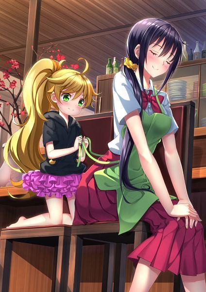 Tags: Anime, Swordsouls, Amaama to Inazuma, Inuzuka Tsumugi, Iida Kotori, PNG Conversion, Mobile Wallpaper