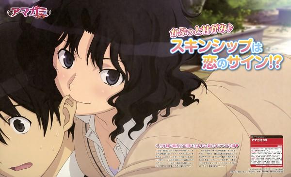 Tags: Anime, Amagami, Tanamachi Kaoru, Tachibana Junichi, Ear Nibbling, Official Art, Wallpaper
