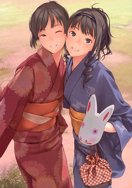 Tags: Anime, Amagami, Morishima Haruka, Tsukahara Hibiki, Mobile Wallpaper