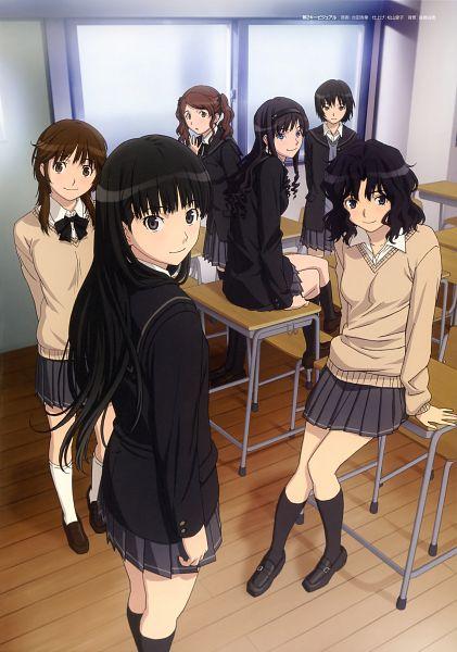 Tags: Anime, Amagami SS+ Memorial Booklet, Amagami SS Visual Fan Book, Amagami, Sakurai Rihoko, Ayatsuji Tsukasa, Tanamachi Kaoru, Morishima Haruka, Nanasaki Ai, Nakata Sae, School Desk, Official Art, Mobile Wallpaper