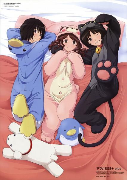 Tags: Anime, Inomata Masami, Amagami, Tachibana Miya, Nanasaki Ai, Nakata Sae, Official Art, Mobile Wallpaper