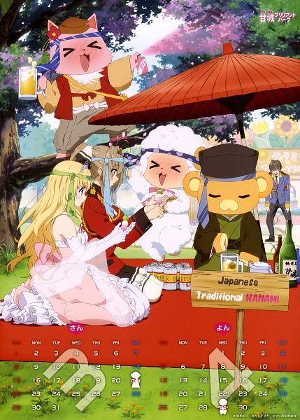 Tags: Anime, Kyoto Animation, Amagi Brilliant Park, Amagi Brilliant Park 2015 Calendar, Tiramie (Amagi Brilliant Park), Sento Isuzu, Macaron (Amagi Brilliant Park), Latifa Fleuranza, Moffle (Amagi Brilliant Park), Kanie Seiya, Official Art, Scan, Calendar 2015