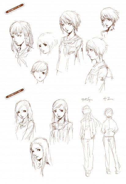 Tags: Anime, Soejima Shigenori, Atlus, P4 Official Design Works, Shin Megami Tensei: PERSONA 4, Amagi Yukiko, Official Art, Sketch