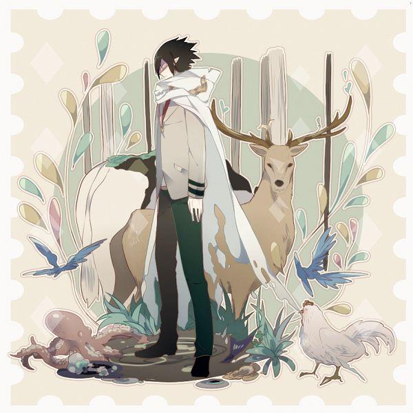 Tags: Anime, Pixiv Id 3108049, Boku no Hero Academia, Amajiki Tamaki, Blue Bird, Deer, Chicken, Octopus, Fanart From Pixiv, Fanart, Pixiv