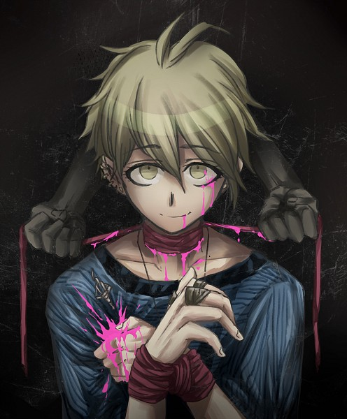 Tags: Anime, Pixiv Id 7995594, New Danganronpa V3, Amami Rantarou, Hands Tied, Unusual Colored Blood, Pixiv, Fanart, Fanart From Pixiv