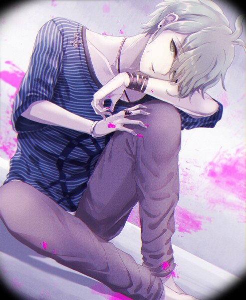 Tags: Anime, Utouronpa, New Danganronpa V3, Amami Rantarou, Unusual Colored Blood, PNG Conversion, Fanart, Twitter