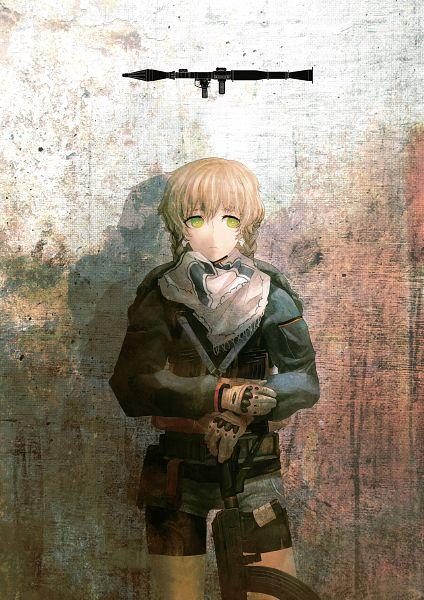 Tags: Anime, Huke, Steins;Gate, Amane Suzuha, Assault Rifle, Rocket Launcher, Official Art, Scan, Mobile Wallpaper