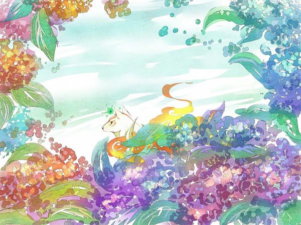Tags: Anime, Gline, Okami, Amaterasu, Issun-Boshi, Wallpaper, Fanart, Pixiv, Fanart From Pixiv
