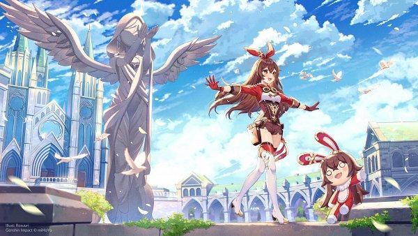 Tags: Anime, Rosuuri, miHoYo, Genshin Impact, Amber (Genshin Impact), Explosive Puppet, Church, Official Art, Pixiv