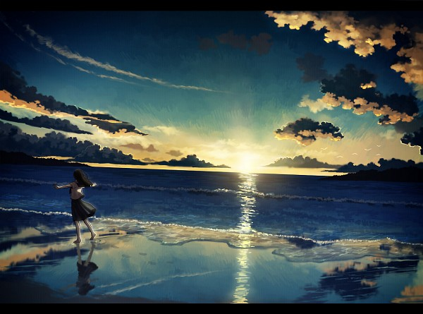 Tags: Anime, Amemura, Walking On Water, Waves, Foot Print, Original, Pixiv