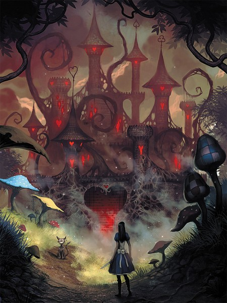 Tags: Anime, American McGee's Alice, American McGee's Alice: Madness Returns, Cheshire Cat (American McGee's), Alice (American McGee's), Spade (Card), Clubs (Card), Official Art