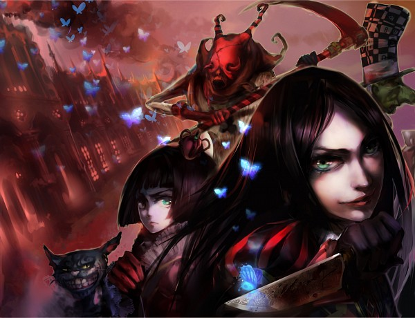 Tags: Anime, H2so4kancel, American McGee's Alice, American McGee's Alice: Madness Returns, Alice (American McGee's), Executioner, Lizzie (Alice Madness Returns), Cheshire Cat (American McGee's), Queen of Hearts (American McGee's), Mad Hatter (American McGee's), Fanart, Fanart From Pixiv, Pixiv