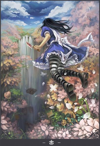 Tags: Anime, Moie, Alice in Wonderland, American McGee's Alice: Madness Returns, American McGee's Alice, Alice (American McGee's), Waterfall, Blood On Weapons, Mobile Wallpaper, Fanart From Pixiv, Fanart, Pixiv